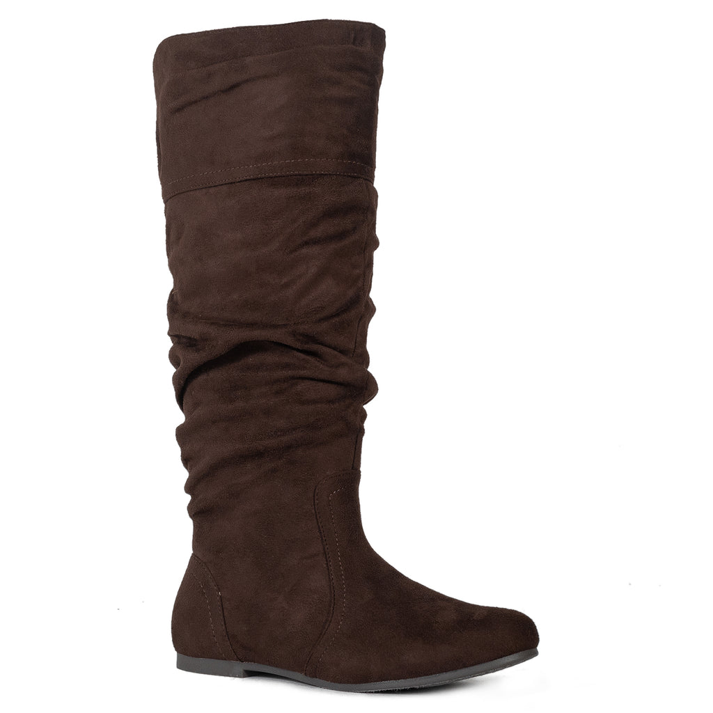 Casual Slouchy Pull On Knee High Boots Brown SU
