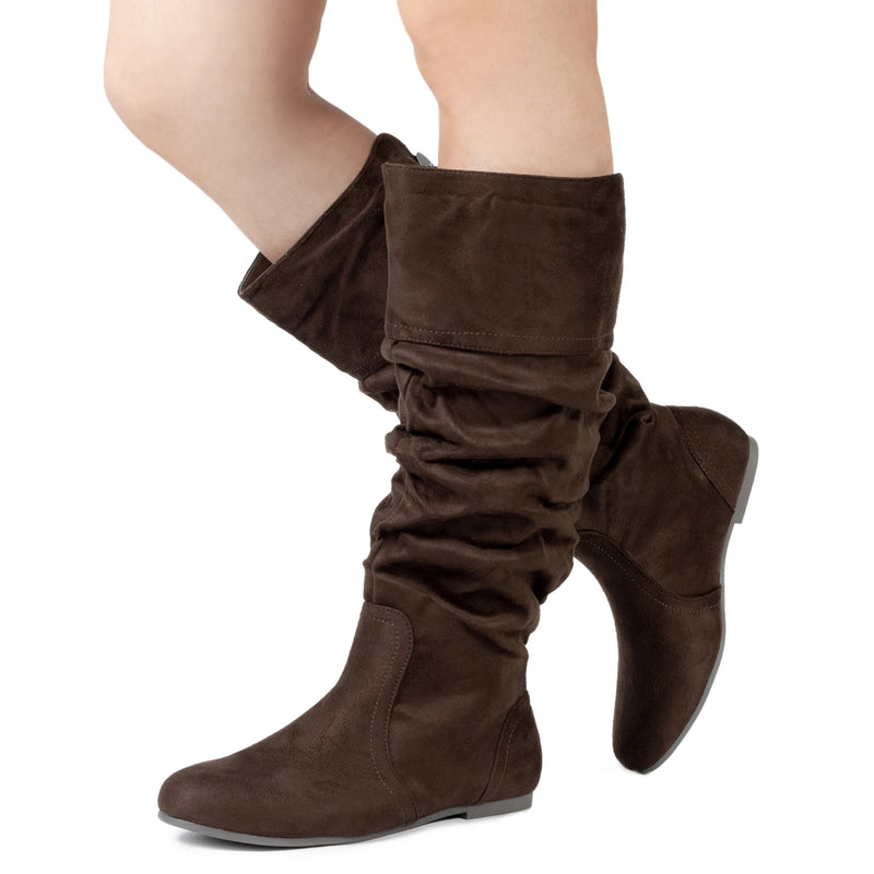 """Medium Calf"" Slouchy Knee High Boots BROWN SU"