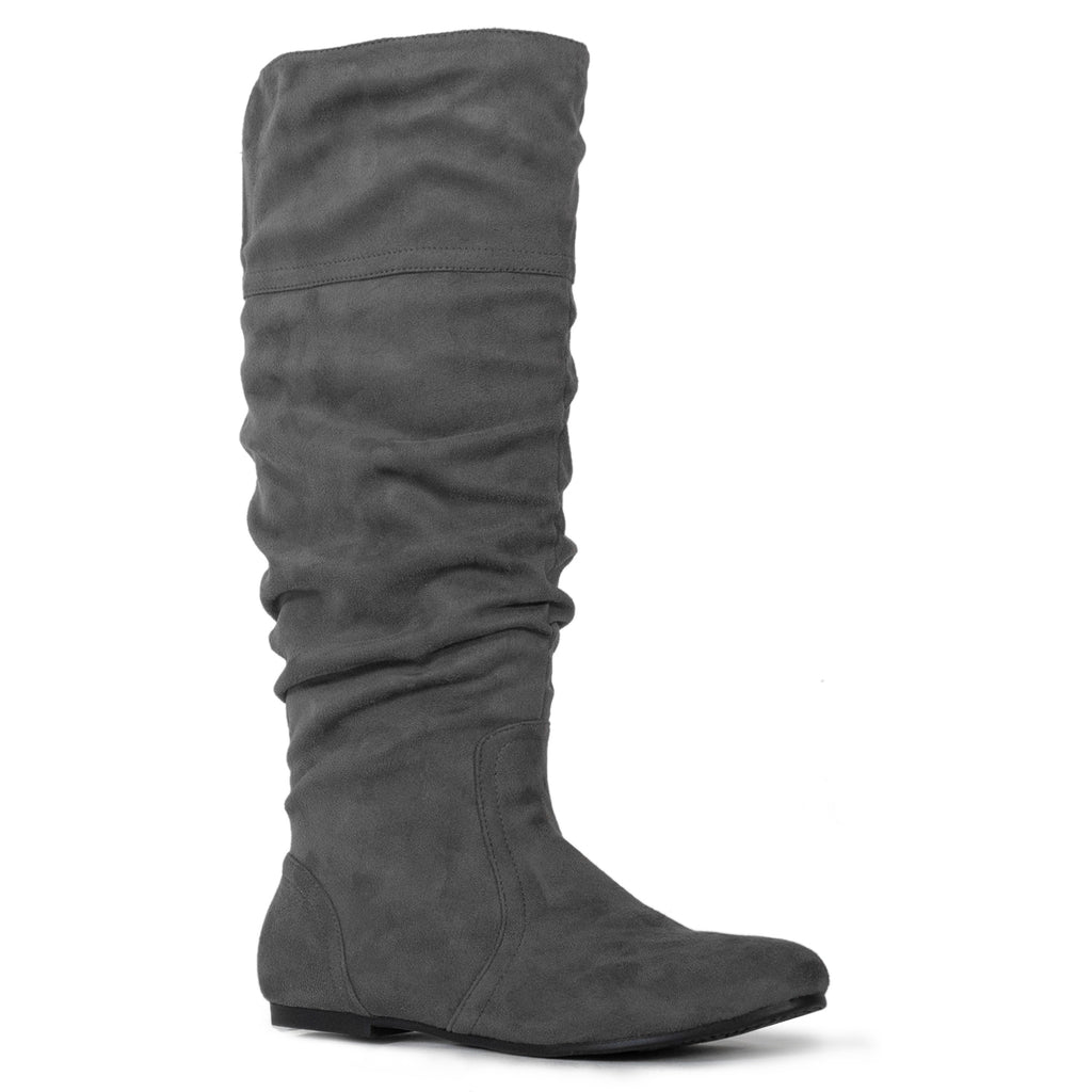 """Medium Calf"" Slouchy Knee High Boots GREY"