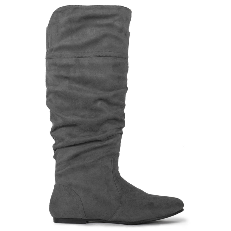 Casual Slouchy Pull On Knee High Boots Grey SU