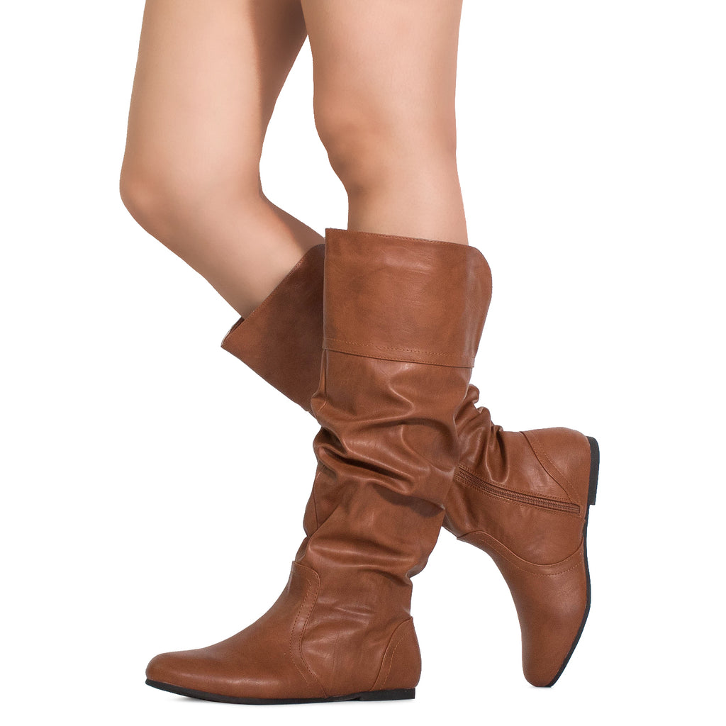 """Medium Calf"" Slouchy Knee High Boots TAN"