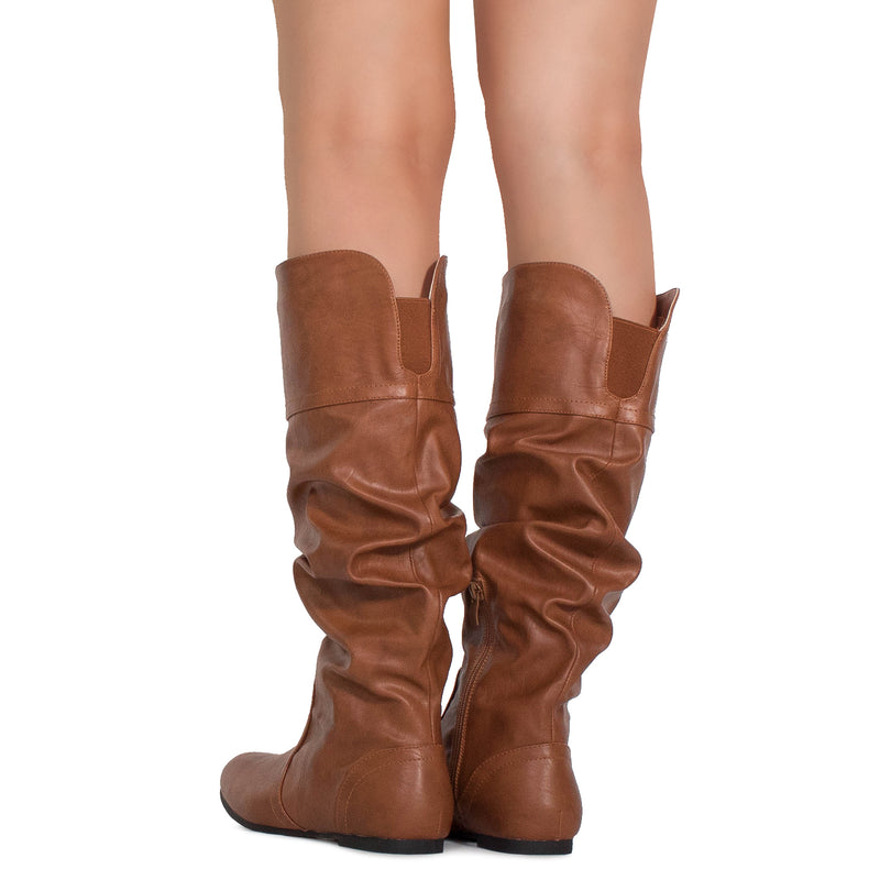 Casual Slouchy Pull On Knee High Boots Tan PU