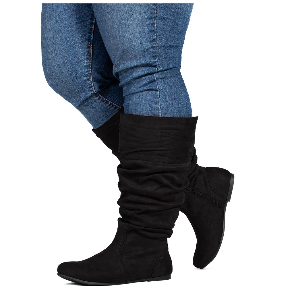 """Wide Calf"" Slouchy Low Block Heel Knee High Boots BLACK SU"