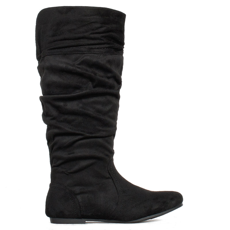 Wide Calf Casual Flat Slouchy Knee High Boots Black SU
