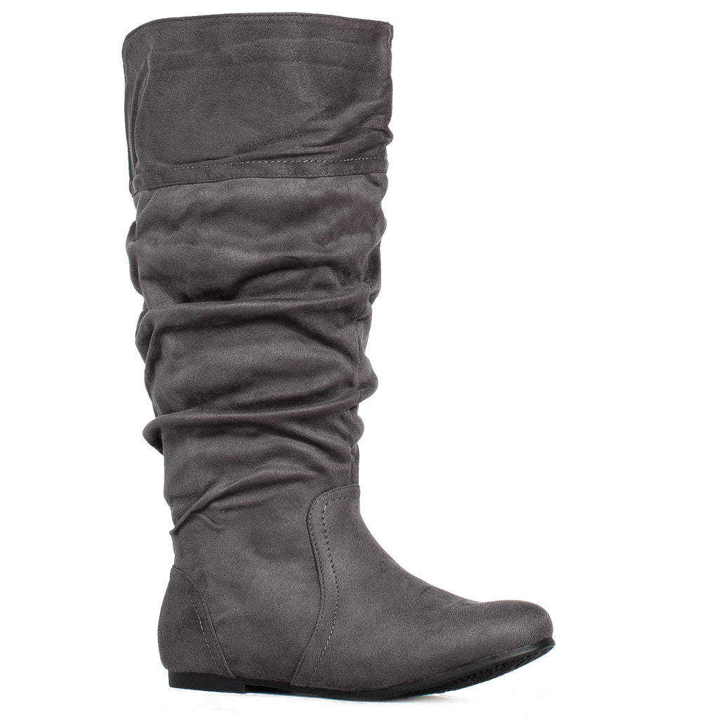 """Wide Calf"" Slouchy Low Block Heel Knee High Boots GREY"