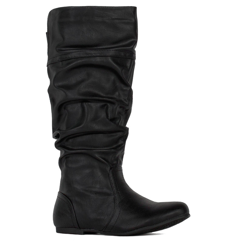 Wide Calf Casual Flat Slouchy Knee High Boots Black PU