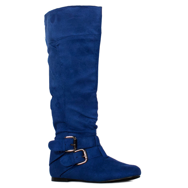 Women's Flat Knee High Boots with Buckle Design (Medium Calf) ROYAL BLUE SUEDE