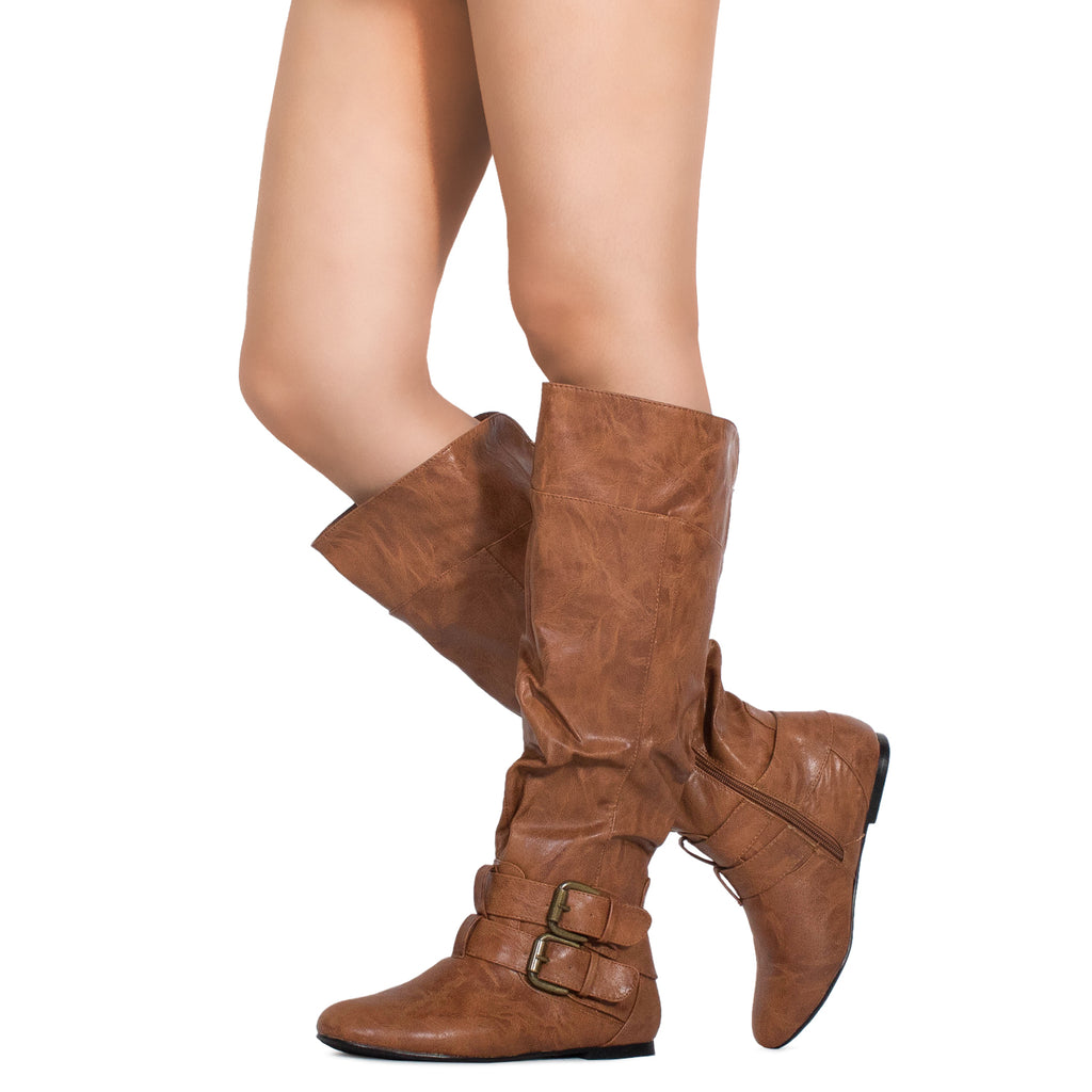 Women's Flat Knee High Boots with Buckle Design (Medium Calf) TAN PU
