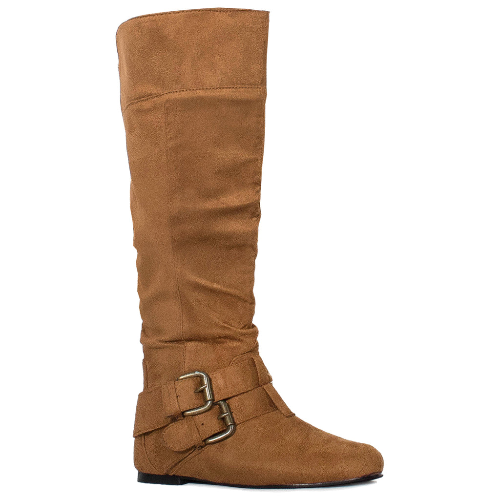 Women's Flat Knee High Boots with Buckle Design (Medium Calf) TAN SUEDE