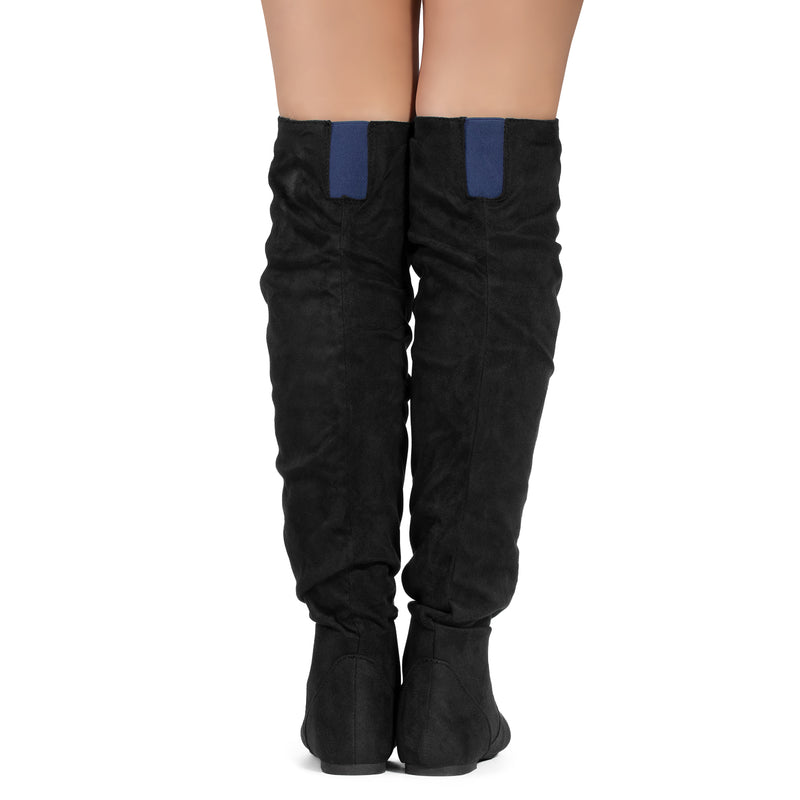 Women's Slouchy Over The Knee Boots BLACK/BLUE SU