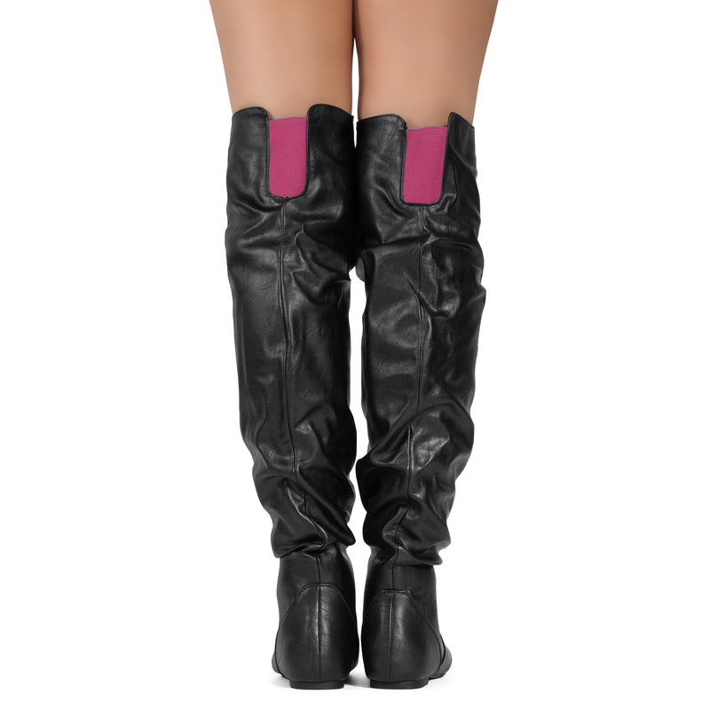 Women's Slouchy Over The Knee Boots BLACK/PINK PU