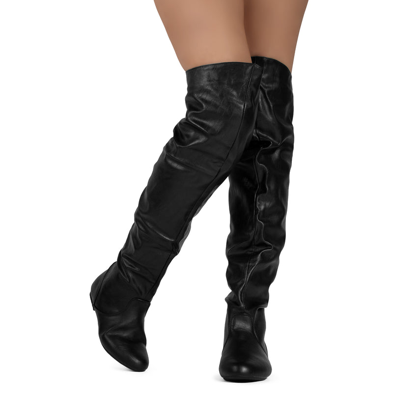 Women's Slouchy Over The Knee Boots BLACK/RED PU