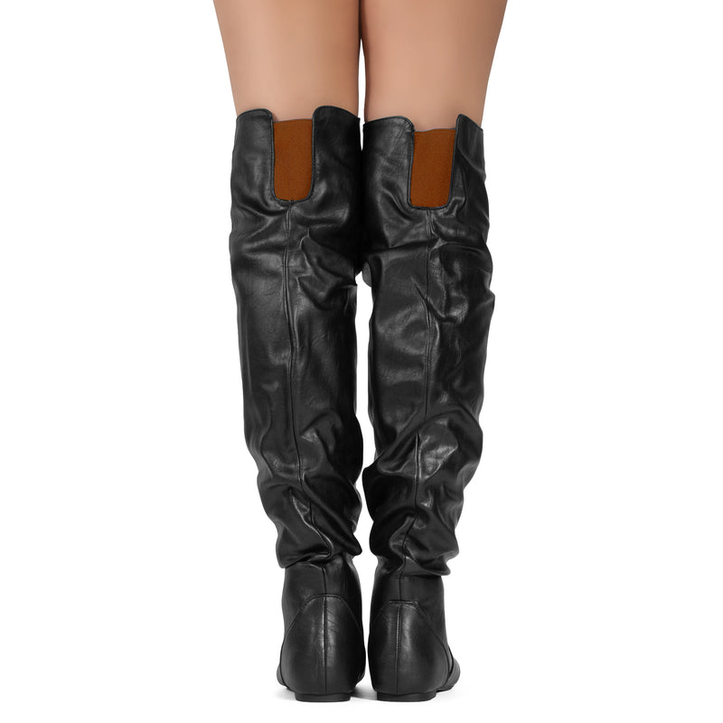 Women's Slouchy Over The Knee Boots BLACK/RUST PU