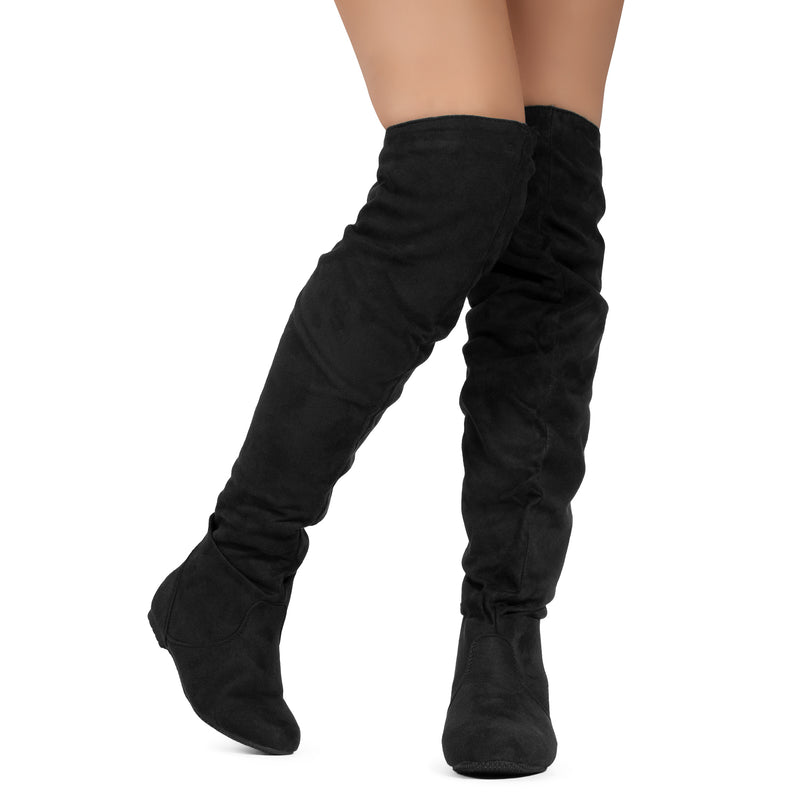 Women's Slouchy Over The Knee Boots BLACK/RUST SU