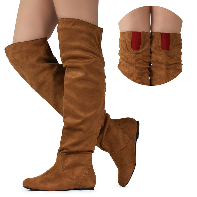 Women's Slouchy Over The Knee Boots CAMEL/RED SU