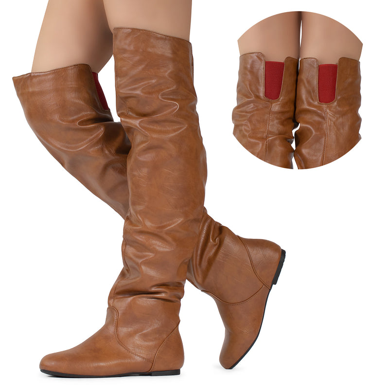 Women's Slouchy Over The Knee Boots TAN/RED PU
