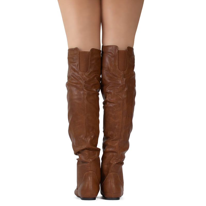 Women's Stretchy Thigh High Boot COGNAC PU