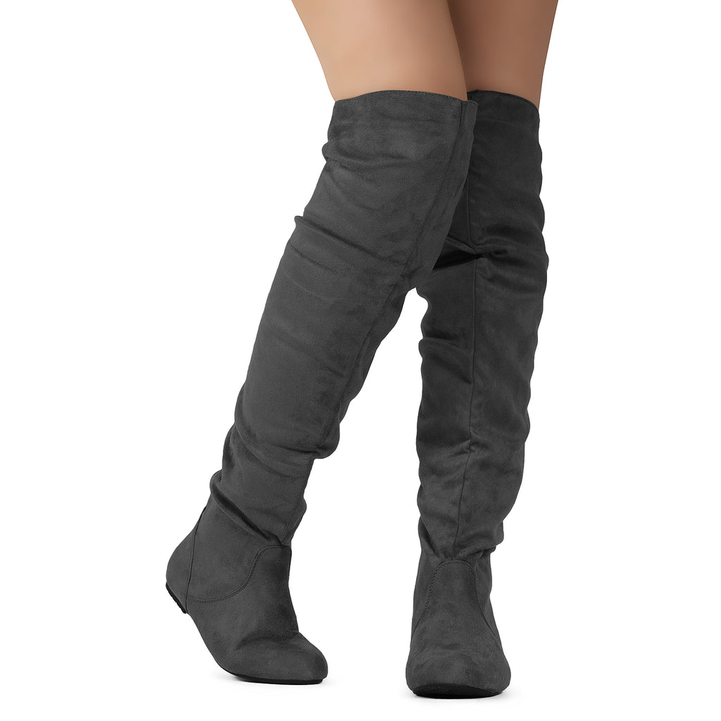 Women's Stretchy Thigh High Boot GREY SU