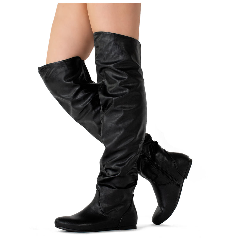 """Wide Calf & Width"" Stretchy Over The Knee Sock Boots BLACK"
