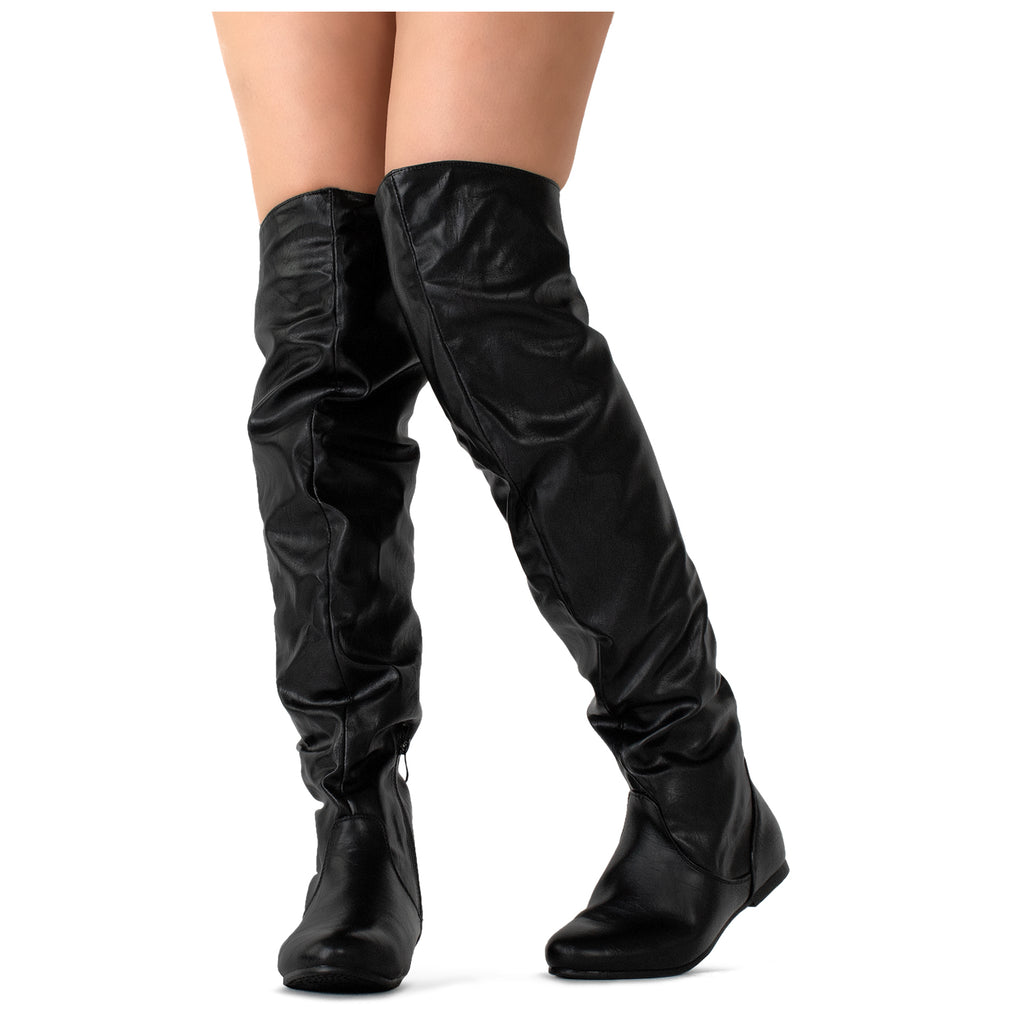 """Medium Calf"" Stretchy Over The Knee Slouchy Boots BLACK PU"