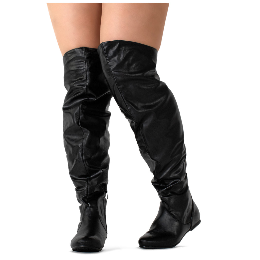 """Wide Calf"" Women's Stretchy Over The Knee Slouchy Boots BLACK PU"