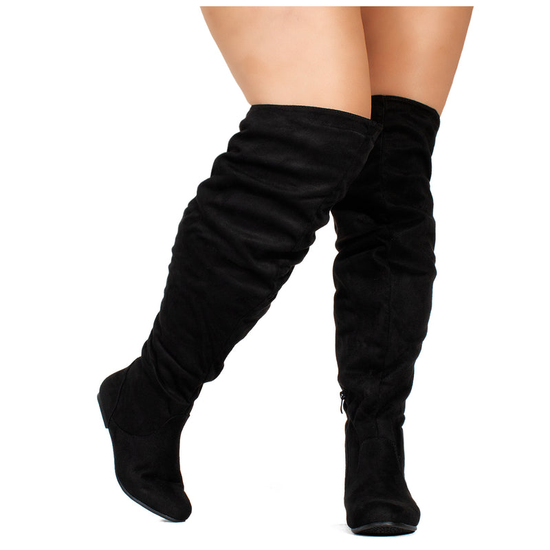 """Wide Calf"" Women's Stretchy Over The Knee Slouchy Boots BLACK SU"