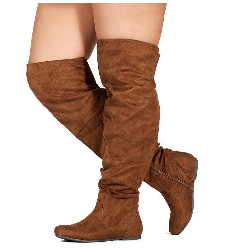 """Wide Calf"" Women's Stretchy Over The Knee Slouchy Boots CAMEL"