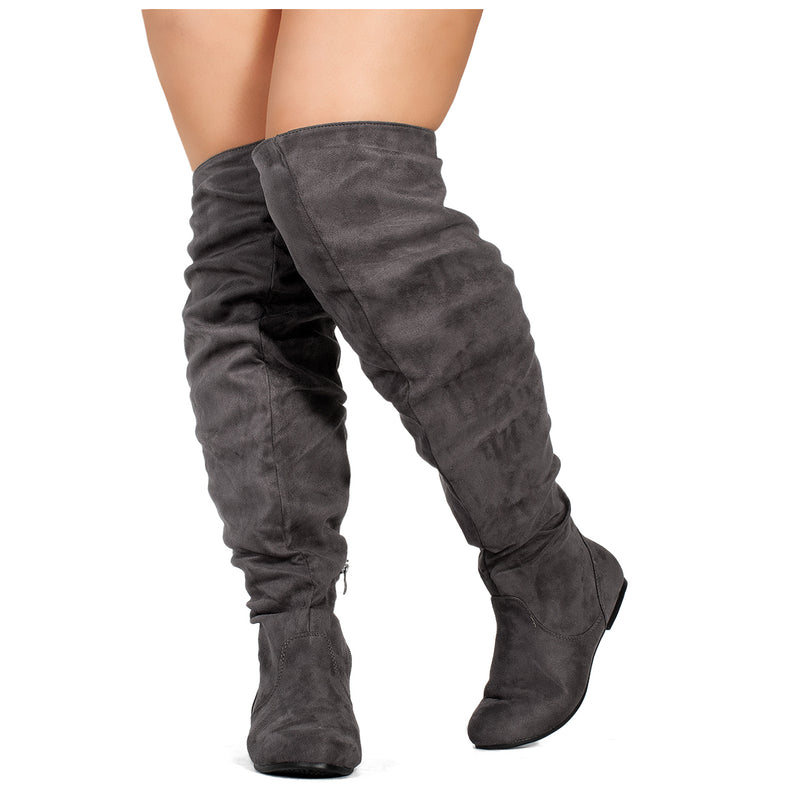 """Wide Calf"" Women's Stretchy Over The Knee Slouchy Boots GREY"