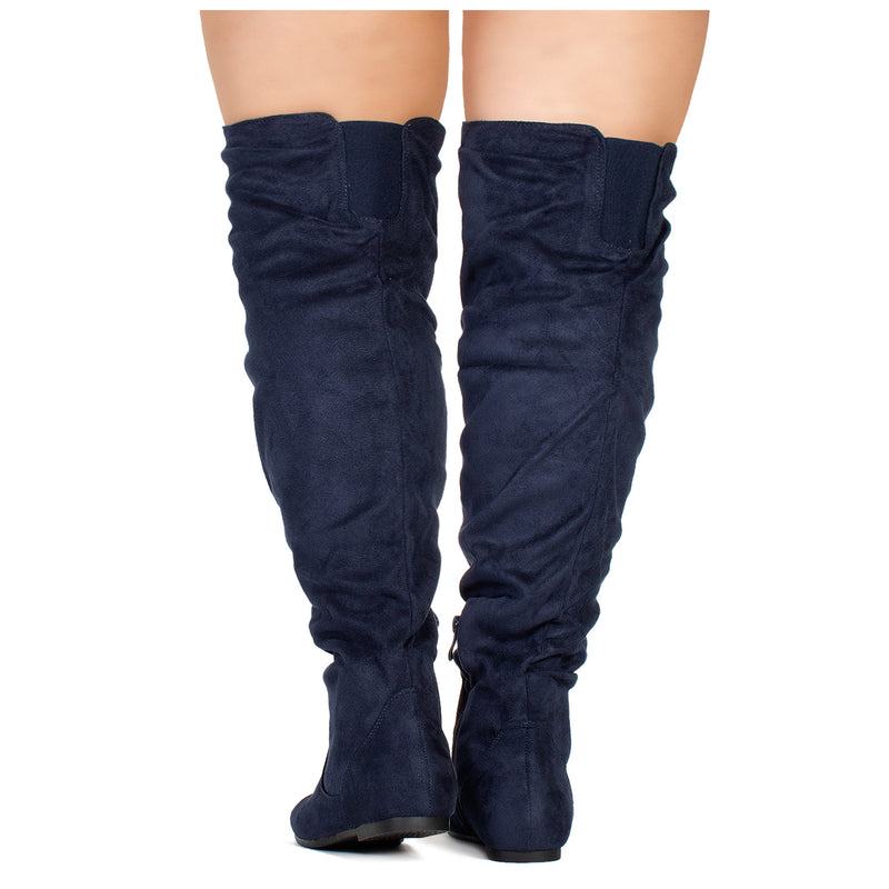"""Wide Calf"" Women's Stretchy Over The Knee Slouchy Boots NAVY"