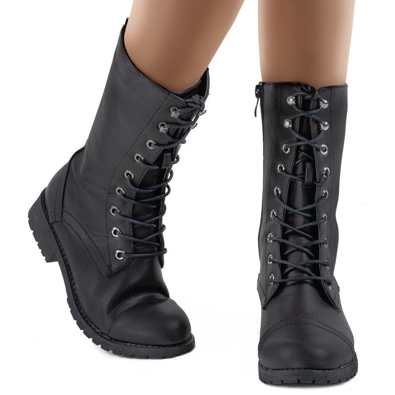 Hidden Pocket Side Zip Combat Ankle Boots BLACK