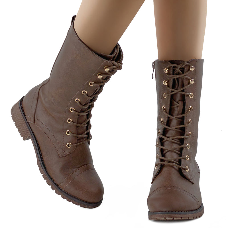 Hidden Pocket Side Zip Combat Ankle Boots BROWN
