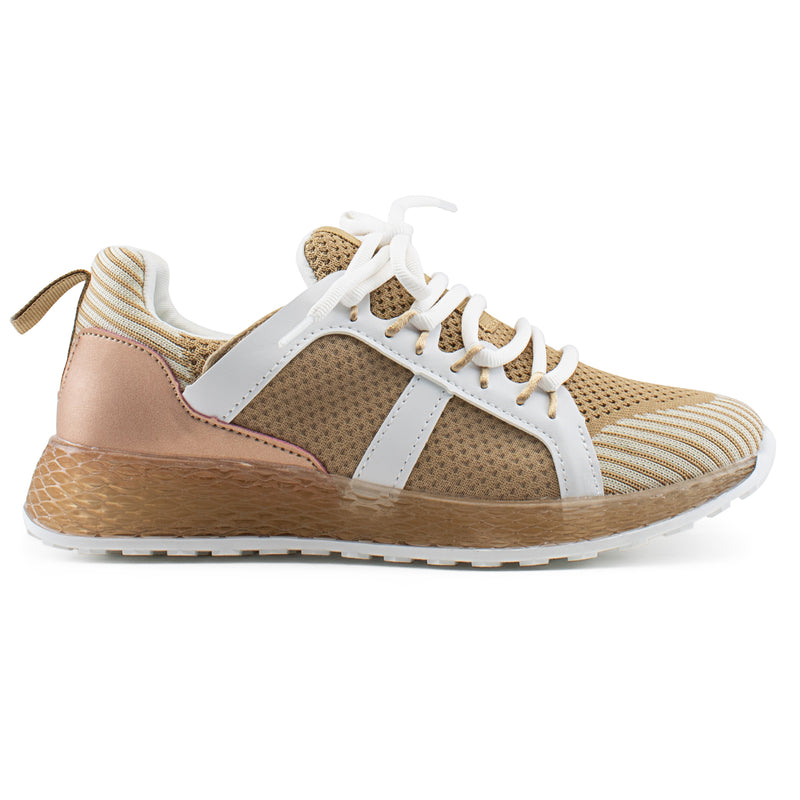 Women's Trendy Platform Knit Walking Lace Up Sneakers Shoes TAUPE