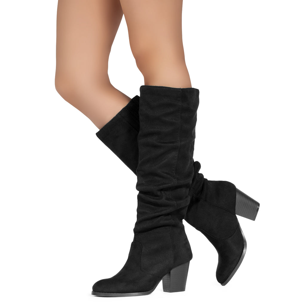 Women's Stacked Heel Slouchy Knee High Boots (Slim Calf) BLACK SUEDE