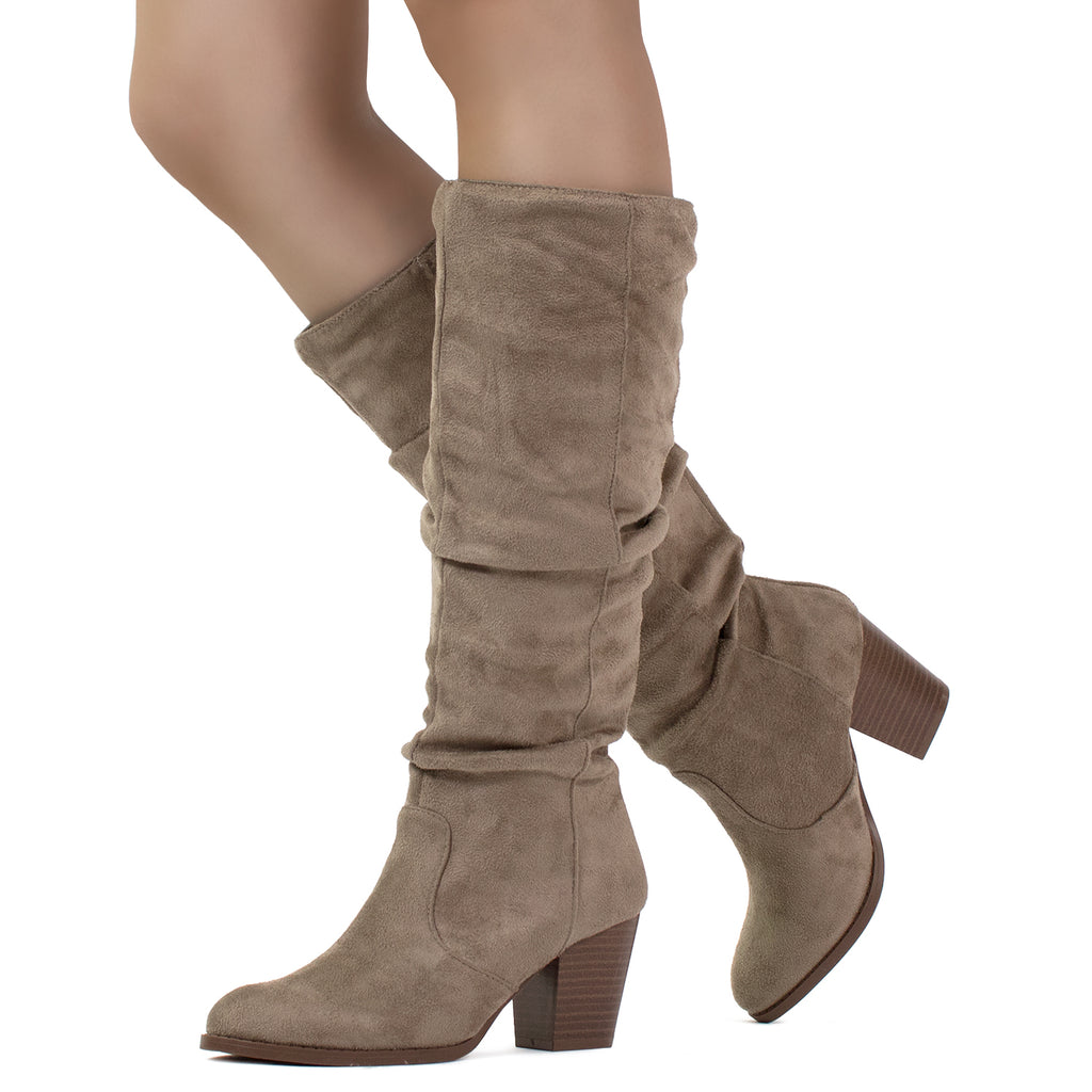"""Slim Calf"" Stacked Heel Slouchy Knee High Boots Taupe SU"