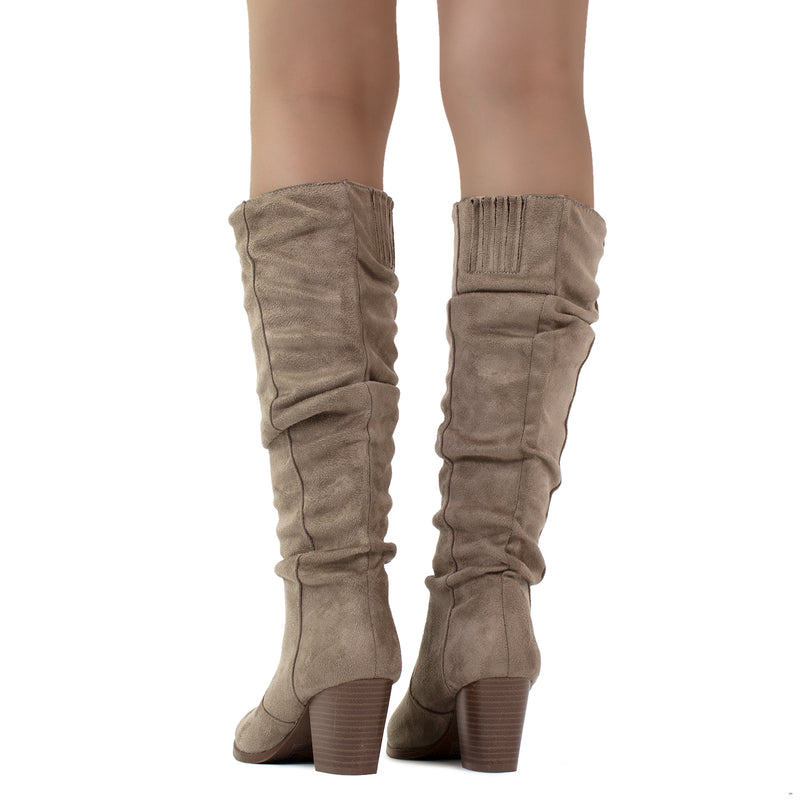 Women's Stacked Heel Slouchy Knee High Boots (Slim Calf) TAUPE SUEDE