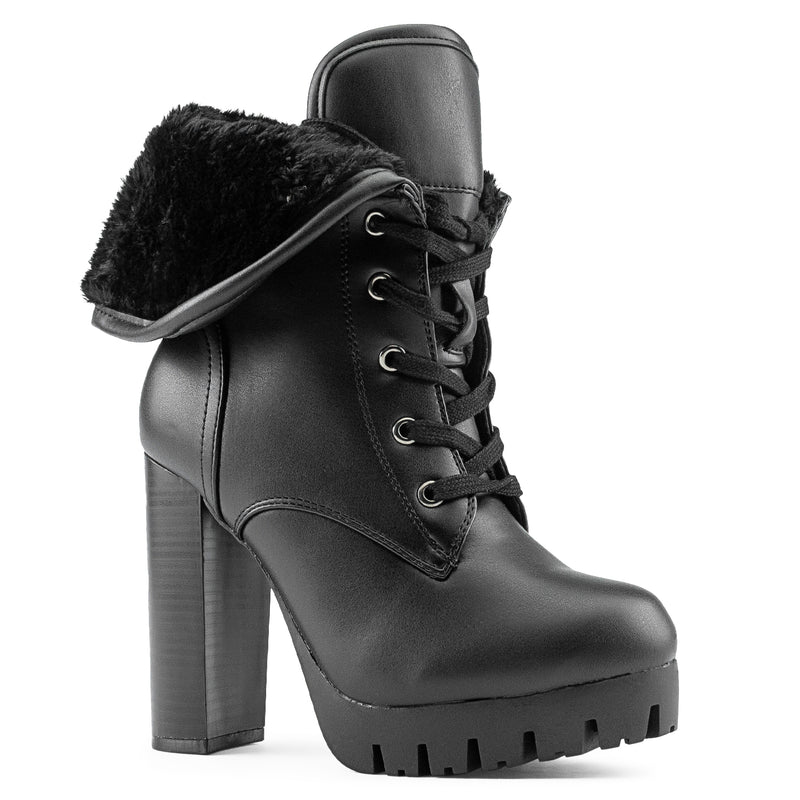 Women's Shearling Fur Lined Lace Up Lug Sole Platform Chunky Heel Ankle Boots BLACK PU