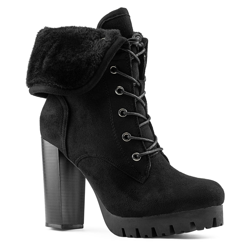Women's Shearling Fur Lined Lace Up Lug Sole Platform Chunky Heel Ankle Boots BLACK SUEDE