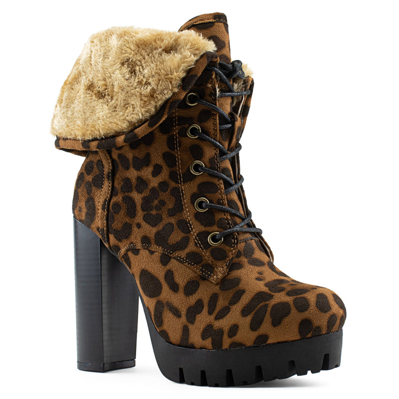 Women's Shearling Fur Lined Lace Up Lug Sole Platform Chunky Heel Ankle Boots LEOPARD
