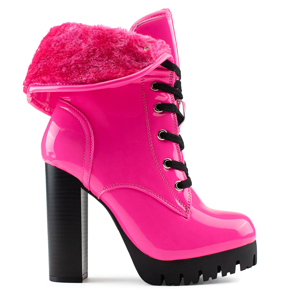 Women's Shearling Fur Lined Lace Up Lug Sole Platform Chunky Heel Ankle Boots PINK