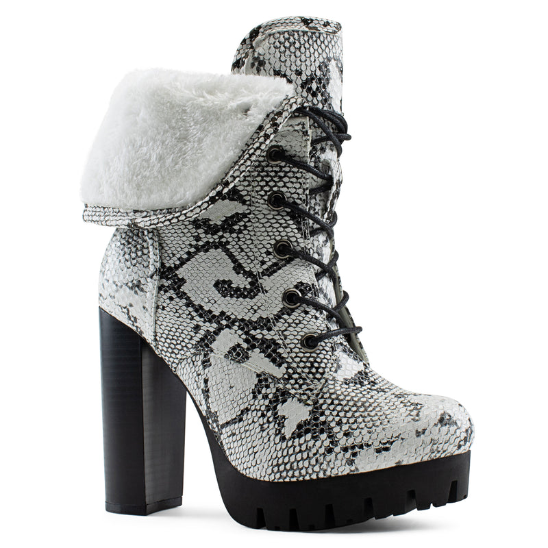 Women's Shearling Fur Lined Lace Up Lug Sole Platform Chunky Heel Ankle Boots SNAKE