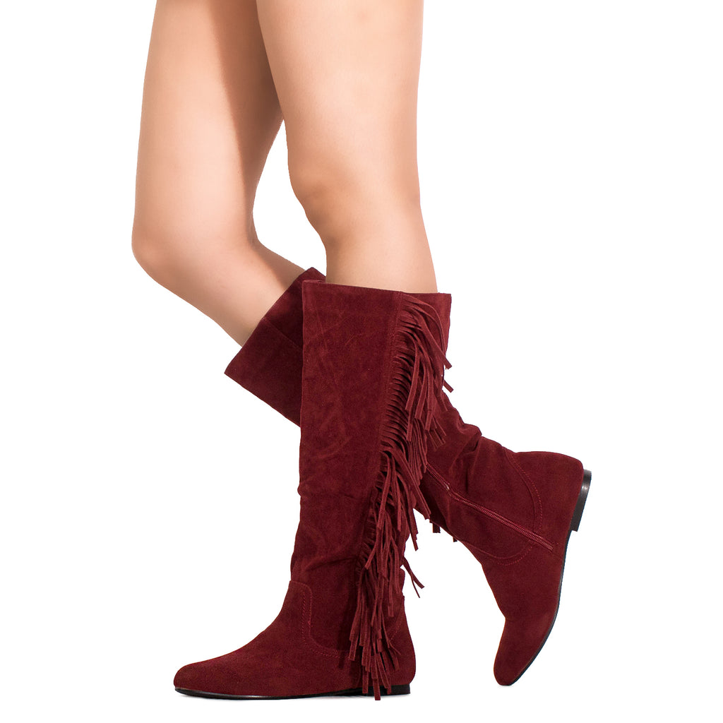 Women's Fringe Western Flat Knee High Boots (Medium Calf) RED