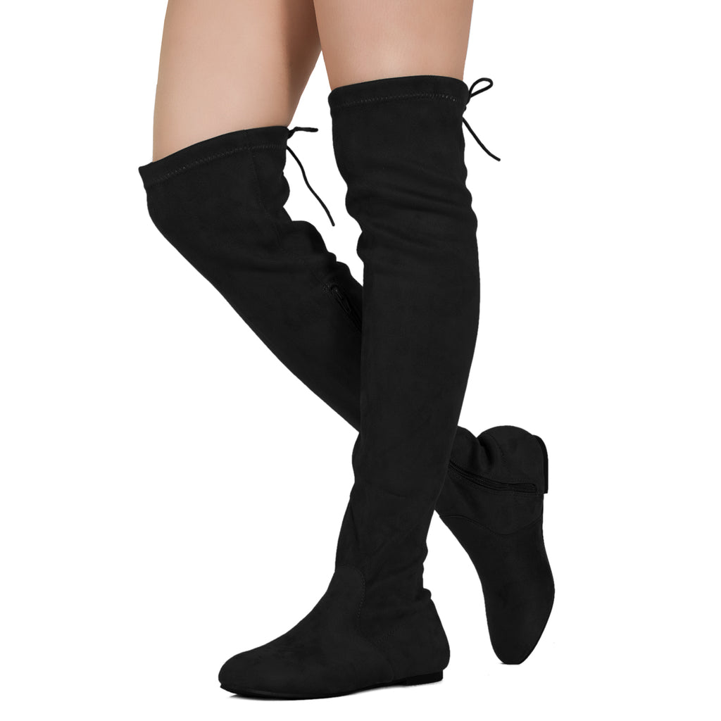 Women Fashion Comfy Vegan Suede Side Zipper Over The Knee Boots BLACK