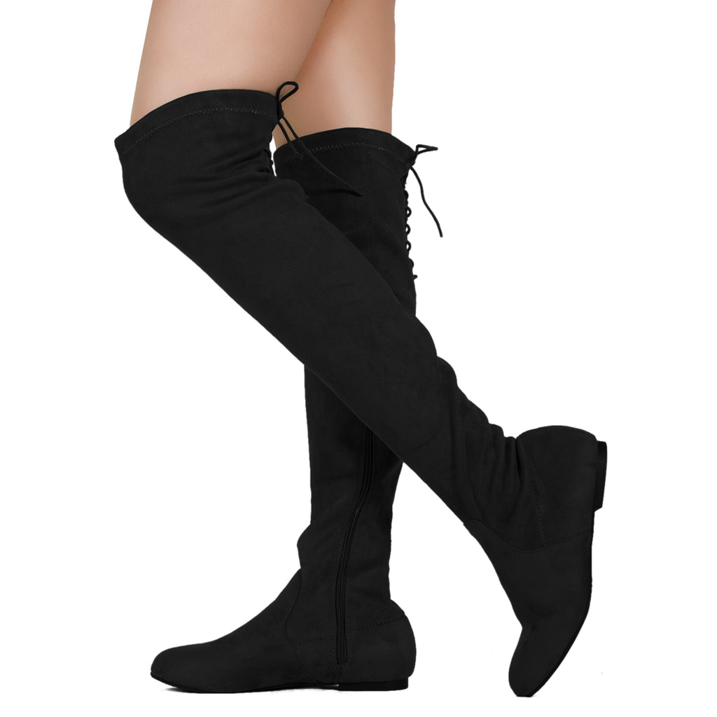 Fashion Comfy Vegan Suede Side Zipper Over The Knee Boots BLACK