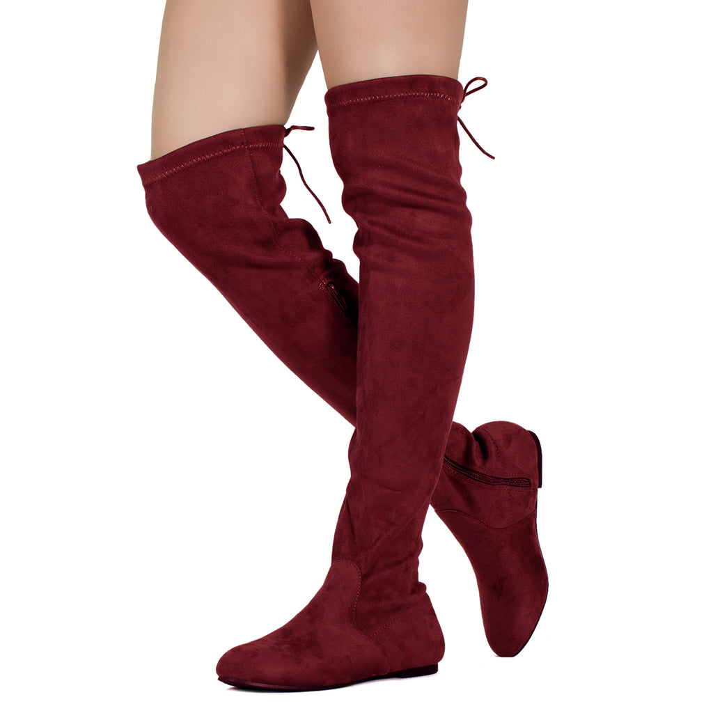 Women Fashion Comfy Vegan Suede Side Zipper Over The Knee Boots BURGUNDY