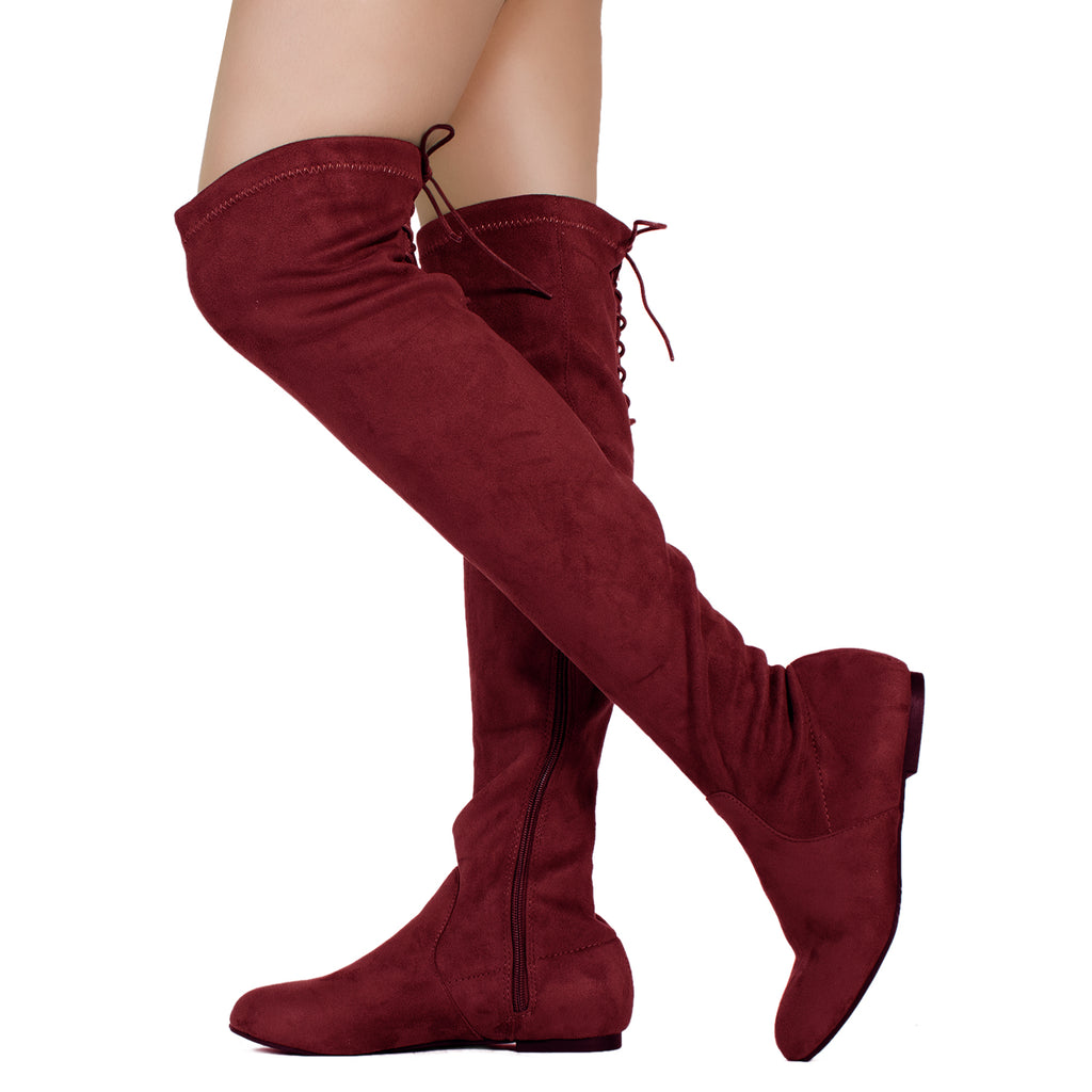 Fashion Comfy Vegan Suede Side Zipper Over The Knee Boots BURGUNDY