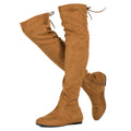 Women Fashion Comfy Vegan Suede Side Zipper Over the Knee Boots CAMEL