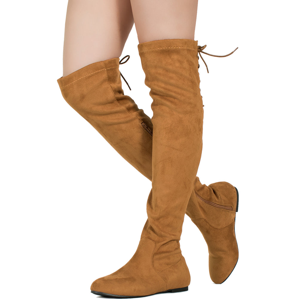 Fashion Comfy Vegan Suede Side Zipper Over The Knee Boots CAMEL