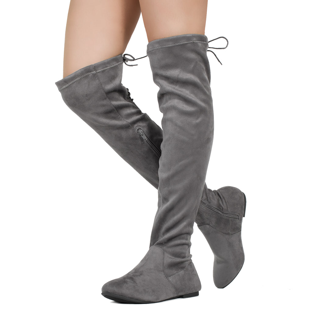 Fashion Comfy Vegan Suede Side Zipper Over The Knee Boots GREY