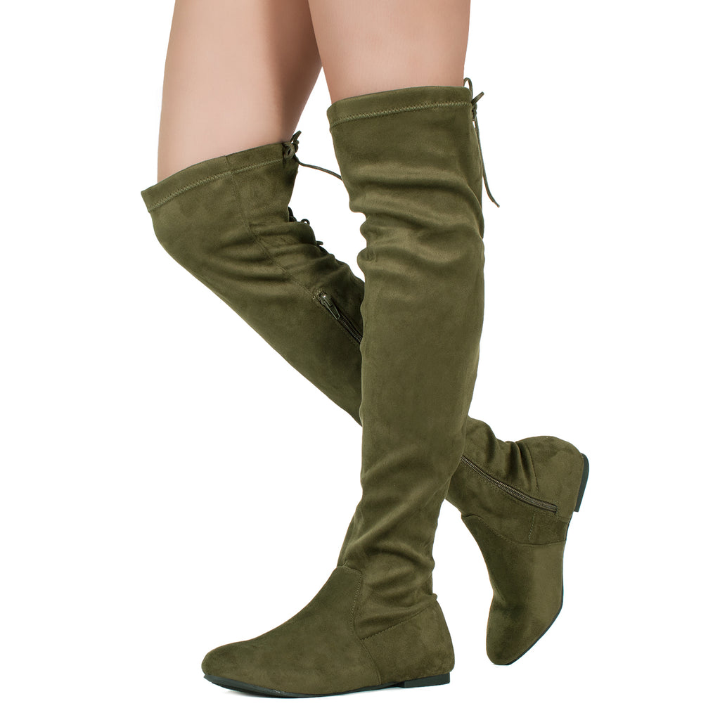 Fashion Comfy Vegan Suede Side Zipper Over The Knee Boots OLIVE