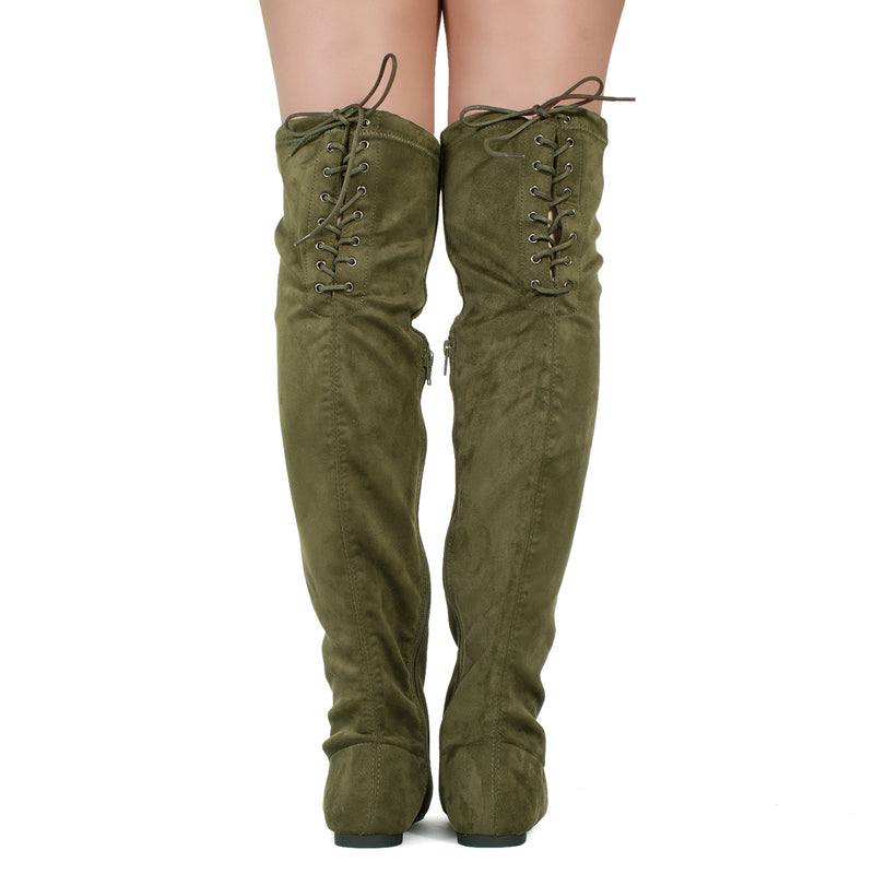 Women Fashion Comfy Vegan Suede Side Zipper Over The Knee Boots OLIVE